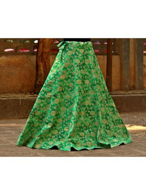 Parrot Green Color Base Colored  Printed With Border Big Flare Full Length Skirt