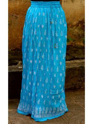 Sky Blue Base White Printed Cotton Blend Long Skirt