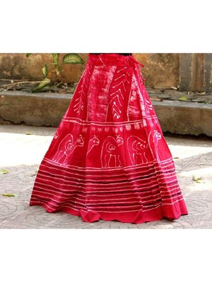 Pink Base Colored  Printed With Cotton Border Big Flare Full Length Skirt Pattern 2