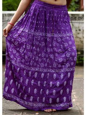 Violet Base White Printed Cotton Blend Long Skirt