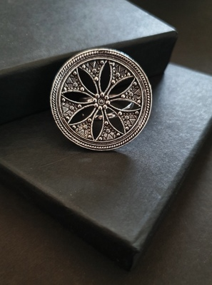 Infuzze Oxidised Silver-Toned Textured Tribal Ring