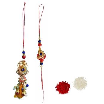 Beautiful Designer Lumba Rakhi Set :: Roli Tika for Bhaiya and Bhabhi (1 Rakhi 1 Lumba)