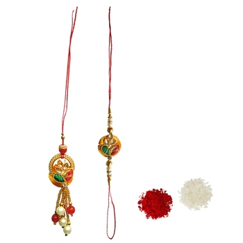 Designer Lumba Rakhi Set :: Roli Tika for Bhaiya Bhabhi (1 Rakhi 1 Lumba)