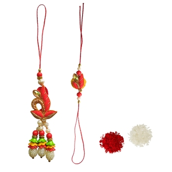 Ethnic Lumba Rakhi Set :: Roli Tika for Bhabhi and Bhaiya (1 Rakhi 1 Lumba)