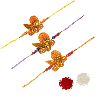 Designer Ethnic Rakhi Set of 3 :: Roli Tika for Bhaiya