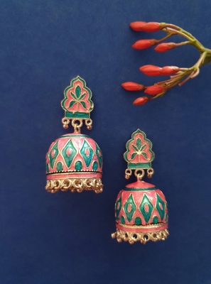 Infuzze Silver-Toned & Pink Textured Meenakari Dome Shaped Jhumkas