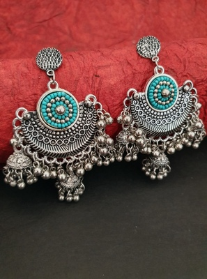 Infuzze Oxidised Silver-Toned & Sea Green Beaded Crescent Shaped Chandbalis