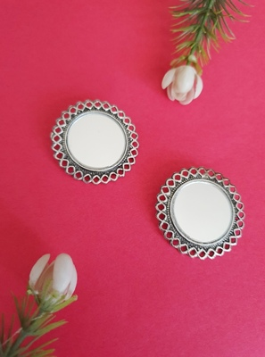 Infuzze Oxidised Silver-Toned Circular Oversized Studs With Mirror Work