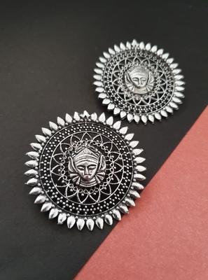 Infuzze Oxidised Silver-Toned Textured Circular Drop Earrings