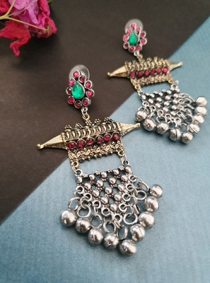 Infuzze Oxidised Silver-Toned & Antique Gold-Toned Stone-Studded Drop Earrings