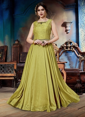 Lemon hand embroidery silk salwar