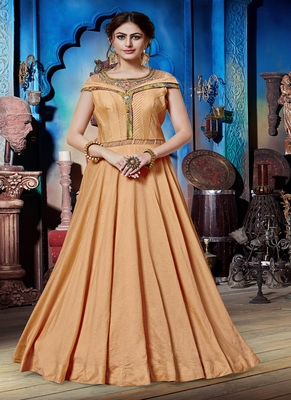 Light-orange hand embroidery silk salwar