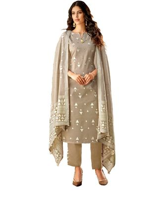 Orange Embroidered Cotton Unstitched Salwar With Dupatta