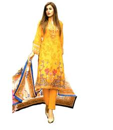 Yellow Printed Lawn Cotton Unstitched Salwar With Dupatta