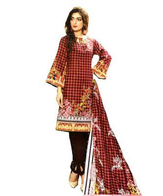Maroon Printed Lawn Cotton Unstitched Salwar With Dupatta