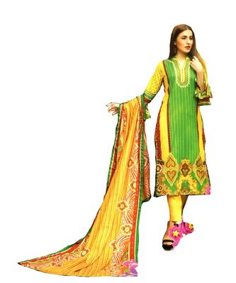 Green Printed Lawn Cotton Unstitched Salwar With Dupatta