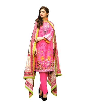 pink printed lawn cotton unstitched salwar with dupatta