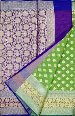 parrot green woven banarasi saree with blouse