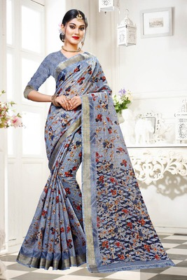 Grey printed cotton silk saree with blouse