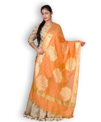 Orange Banarasi Cotton Silk Dupatta