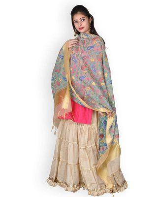 Beige Banarasi Cotton Silk Dupatta With Multi-Coloured Weave