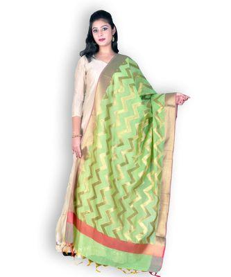 Green Banarasi Cotton Silk Dupatta With Zari Weave
