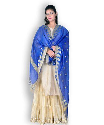 Blue Banarasi Cotton Silk Dupatta With Zari Weave