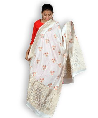 White & Orange Silk Banarasi Dupatta