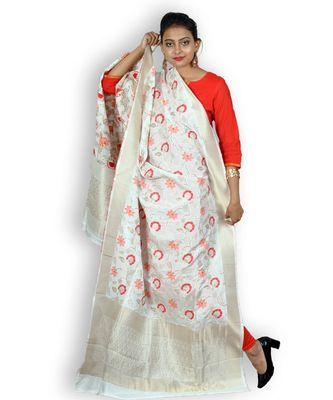 White & Multicolored Silk Banarasi Dupatta