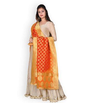 Orange Golden Shaded Georgette Banarasi Dupatta With Zari Weave
