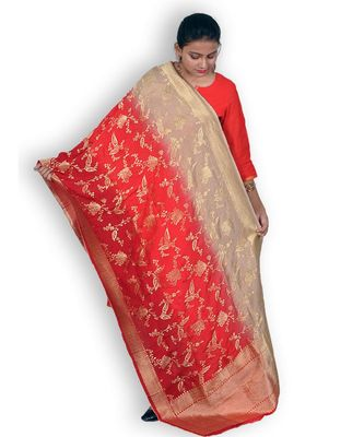 Red & Beige Pure Banarasi Silk Dupatta