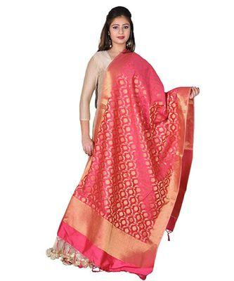 Pink Banarasi Silk Dupatta With Zari Weave