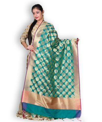 Green & Pink Pure Banarasi Silk Dupatta