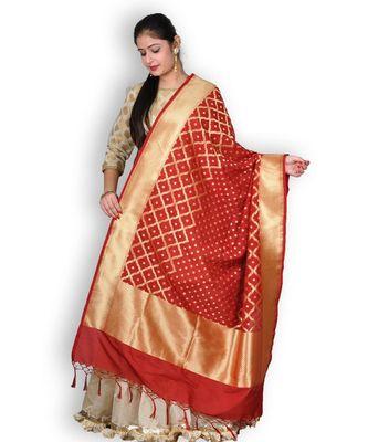 Red Pure Banarasi Silk Dupatta