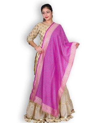 Purple Banarasi Khaddi Chiffon Dupatta