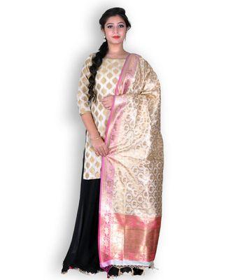 Golden & Pink Banarasi Pure Silk Dupatta with Zari weave
