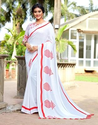 White printed cotton silk saree with blouse