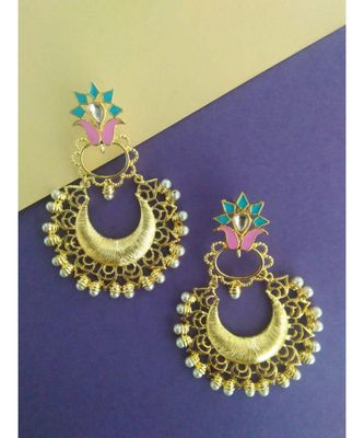 floral earrings with blue and pink