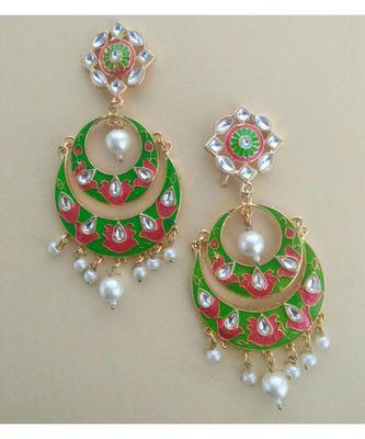kundan chanbali with green and red