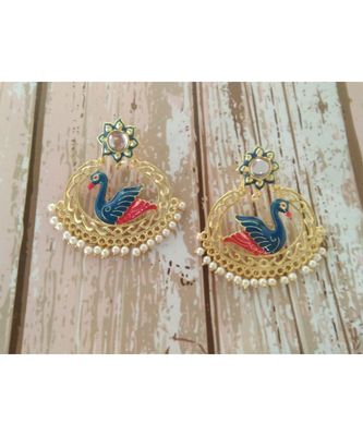 bird earring with blue & red