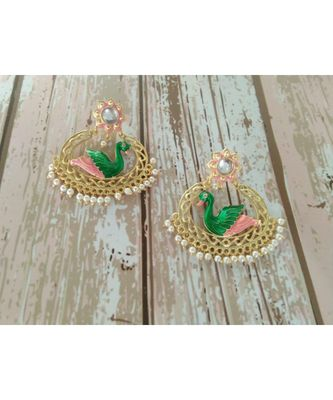 bird earring with green and pink