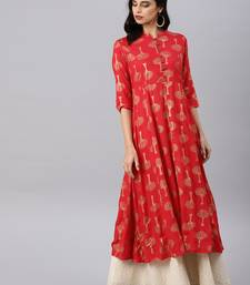 Red printed viscose rayon kurtas-and-kurtis