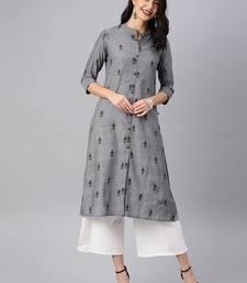 Grey woven cotton kurtas-and-kurtis