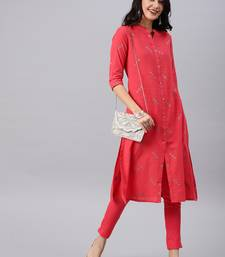 Coral woven cotton kurtas-and-kurtis