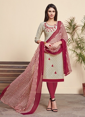 Beige printed cotton silk salwar
