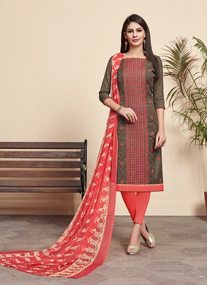 Brown printed cotton silk salwar