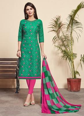 Sea-green printed cotton silk salwar
