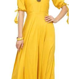 Yellow plain rayon long-kurtis