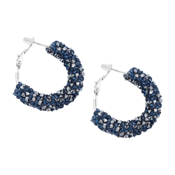 Blue Color Bling Bling Hoop Earrings For Women Shiny Crystal Hollow Round Circle Ear Jewelry Earrings For Women
