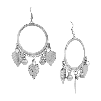 Silver Color Round  Stylish Leaf Shape Party Wear Earrings/Jhumki For Girls And Women
